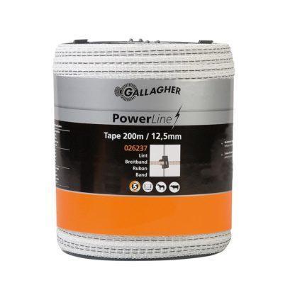— 026237 — Gallagher Sterk 12,5mm lint met 4 dikke roestvrijstalen draden en 1 lichtmetalen draad voor een uitstekende geleiding. Geschikt voor verplaatsbare afrasteringen voor rundvee, jongvee en paarden. 026237 — Gallagher