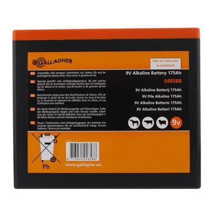 — 048588 — Gallagher Een alkaline 9V batterij (kwikvrij!) zorgt voor een optimale prestatie van een 9V batterij-apparaat. Geschikt voor alle Gallagher 9Volt apparaten. Nu extra voordelig in duopack (art.nr. 065073, pag. 6) verkrijgbaar. 048588 — Gallagher