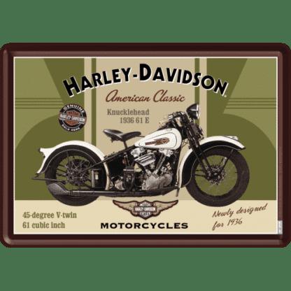 — NA10123 — Metal Card 'Harley-Davidson Knucklehead' — Nostalgic Art