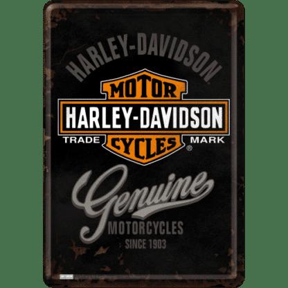 — NA10124 — Metal Card 'Harley-Davidson - Genuine Logo' — Nostalgic Art