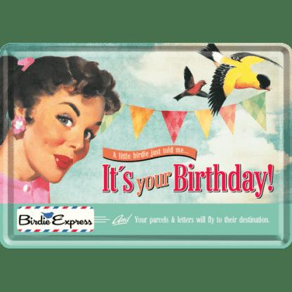 — NA10185 — Metal Card 'It's Your Birthday!' — Nostalgic Art