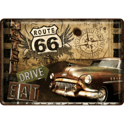 60 L drum Kroon olie Armado Synth LSP Ultra 5W-30 — NA10201 — Metal Card 'Route 66 Road Trip' — Nostalgic Art