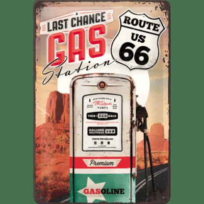 — NA22215 — Tin Sign 20 x 30cm 'Route 66 Gas Station' — Nostalgic Art