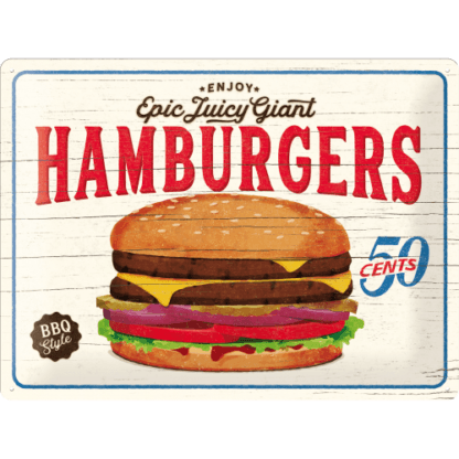 — NA23240 — Tin Sign 30 x 40cm 'Hamburgers' — Nostalgic Art