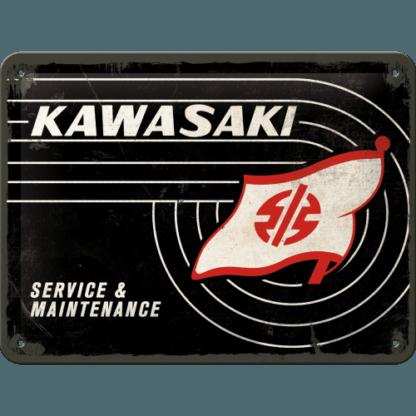 — NA26232 — Tin Sign 15 x 20cm 'Kawasaki - Tank Logo' — Nostalgic Art