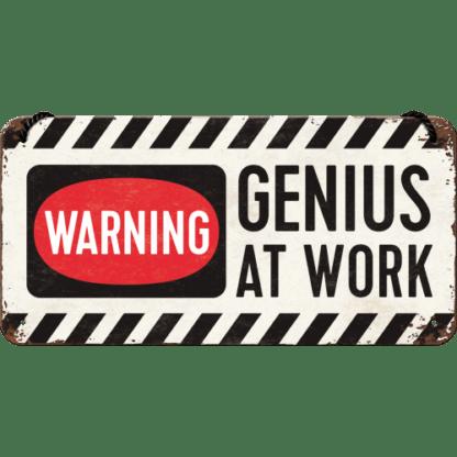 — NA28007 — Hanging Sign 'Genius at Work' — Nostalgic Art