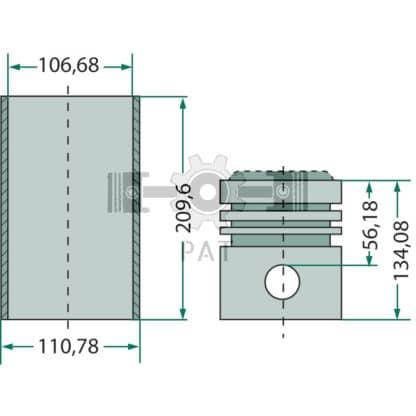 — 15405162 — Fordson en Ford,BSD 326,Zuiger- en cilinderset, 15405162 — Fordson en Ford