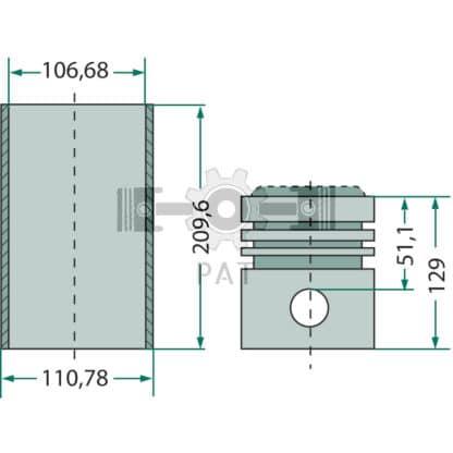 — 15405163 — Fordson en Ford,BSD 329, BSD 438,Zuiger- en cilinderset, 15405163 — Fordson en Ford