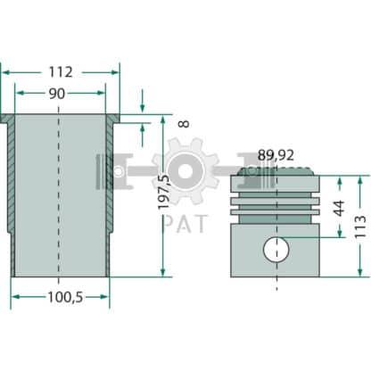 — 154154121 — Fendt,KD 10.5,Zuiger en cilinderset, 154154121 — Fendt