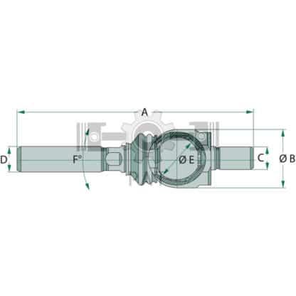 — 38702652 — lengte: 210, <br> draad = kort: M20 x 1,5, <br> draad = lang: M24 x 1,5 — Steyr