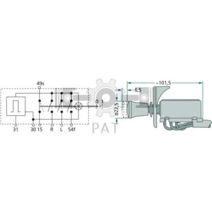 — 4556HD 002535101 — dubbel-circuit, spatwaterdicht, voor voertuigen met 12V installatie, trekschakelaar, rode schakelkno — GRANIT