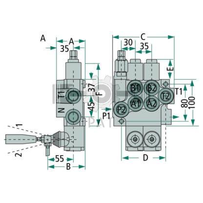 """— 87000920 — 1/2"""" 3/8"""" 4/3 ventiel, 1x DW (A-B gesloten / veerretour) 60 — In-line componenten"""